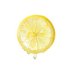Fototapeta Essential oil dripping from lemon slice on white background