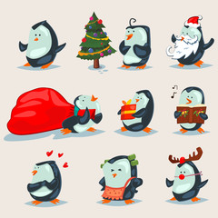 Christmas cute penguins vector cartoon character set. Vector illustration of animals isolated on a white background.