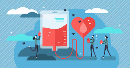 Blood donation vector illustration. Flat mini persons concept for donor aid