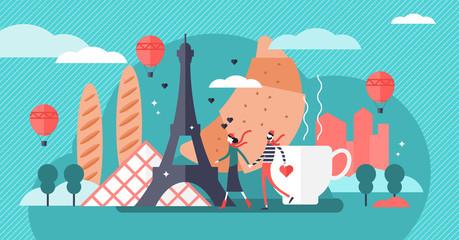 Paris vector illustration. Famous french city tourist symbols collection.