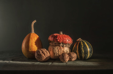still life with pumpkins and nuts. vintage retro. food.