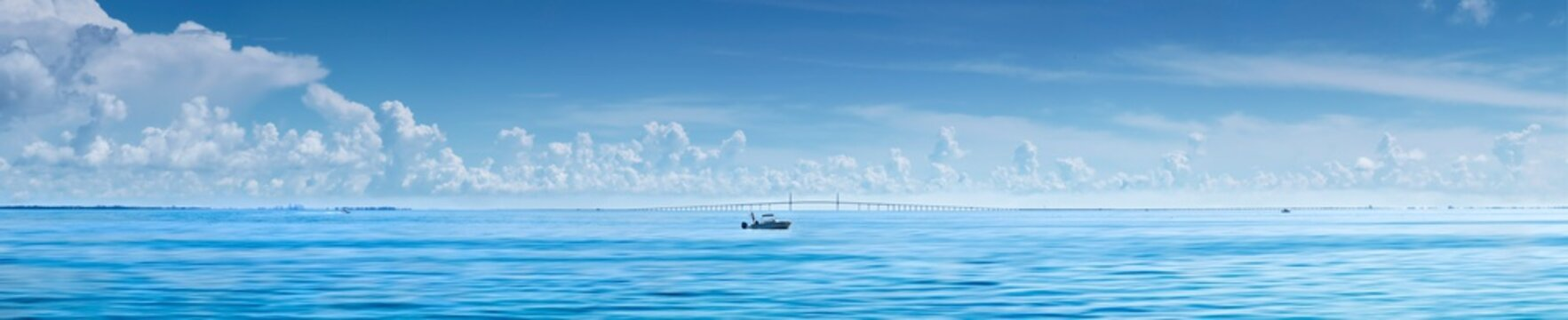 Fishing boat in front of Sunshine Skyway