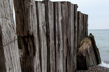 Old wooden fence in on the beach