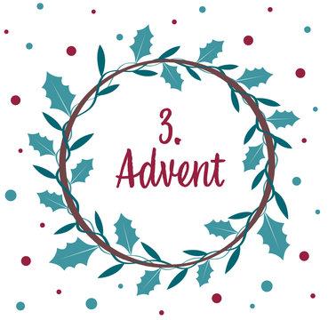 an advent wreath. the 3. Advent.