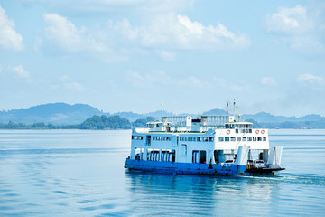 Ferry goes by sea. Travel concept.