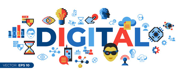 Digital vector pixel art digital technology