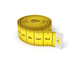 3d rendering of a yellow flexible sewing tape measure in a complete unwound state on a white background.