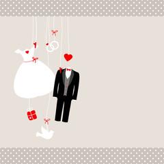 Hanging Wedding Symbols Retro Beige/Red Dots
