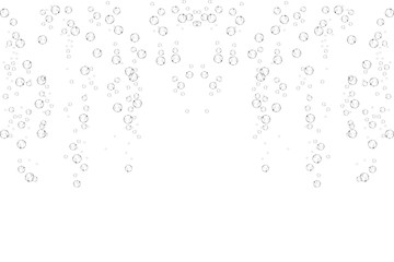 Bubbles underwater texture isolated on white background. Fizzy sparkles in water, sea, ocean. Undersea illustration.