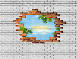 3D hole wall bricks illusion with sea landscape 3D rendering