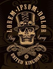 Black and white illustration of steampunk skull