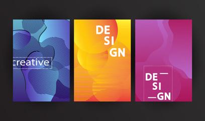 Set of Minimalist geometric backgrounds. Trendy gradient, liquid shapes composition