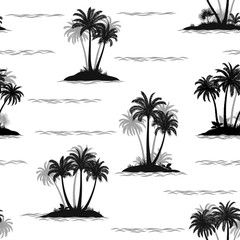 Exotic Seamless Pattern, Tropical Ocean Landscape, Islands with Palms Tree and Waves, Black and Grey Silhouettes Isolated on Tile White Background. Vector