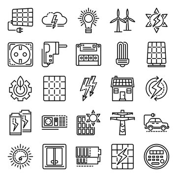 Energy equipment icon set. Outline set of energy equipment vector icons for web design isolated on white background