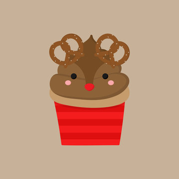 Christmas reindeer cupcake vector illustration icon. Cute vanilla cupcake decorated with chocolate, brown frosting, reindeer rudolph face and pretzel antlers. Isolated on beige background.