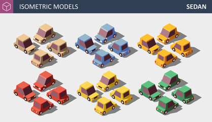 Vector Low Poly Personal Cars Set in Six Colors.