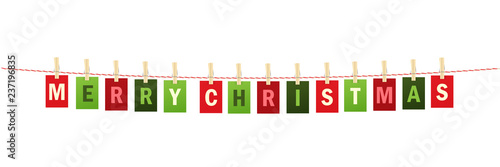 merry christmas colorful letters banner pinned to string with pegs