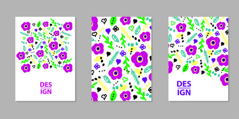 Floral Colorful backgrounds. Templates for card, banner, poster, flyer, cover.