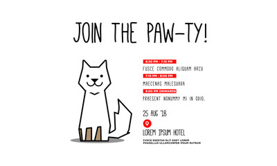 Join the Paw-ty Invitation Design with Cute Cat Illustration Where and When Details