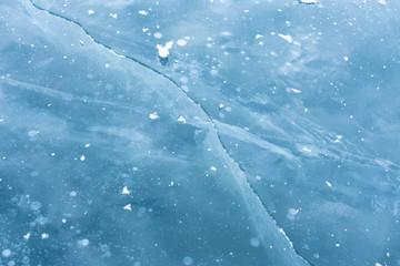 Ice cracks on lake Baikal.