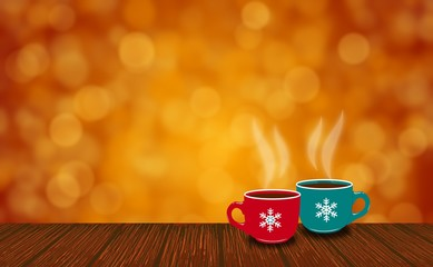 Cups of christmas with beautiful bokeh