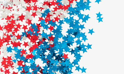 4th of July American Independence Day. Star confetti decorations on white background. Flat lay, top view, copy space