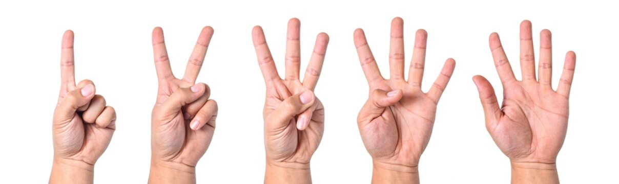 Group hand asian young man count finger collection isolated on white background