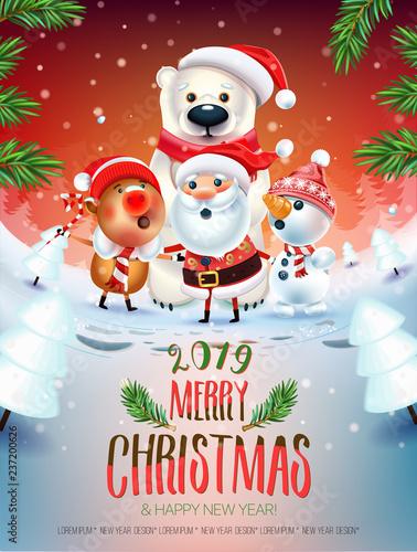 Singing Christmas Tree 2019.2019 Merry Christmas New Year Poster Santa Claus Snowman