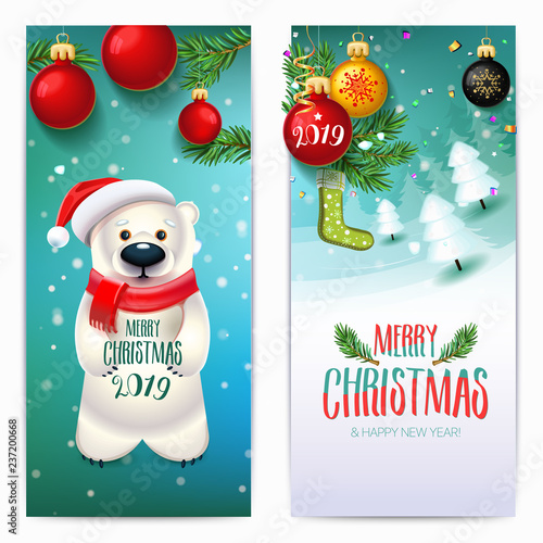 2019 merry christmas new year banners bear on winter landscape