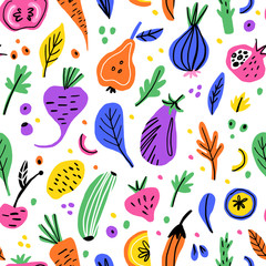 Fruits and vegetables flat hand drawn seamless pattern