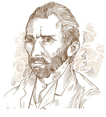 Hand drawn vector portrait.Vincent Van Gogh