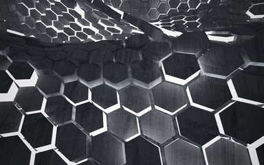 Empty dark abstract concrete room interior with hexagonal honeycombs. Architectural background. Night view of the illuminated. 3D illustration and rendering