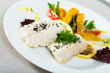 Steamed cod fillets