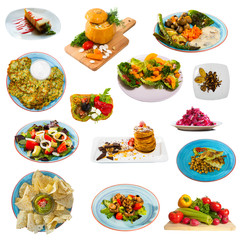 Set of many plates with tasty vegetarian food  isolated on white background
