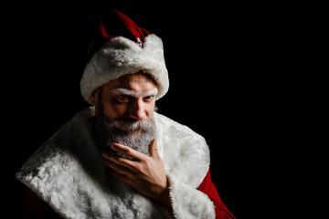Portrait of a brutal mature Santa Claus