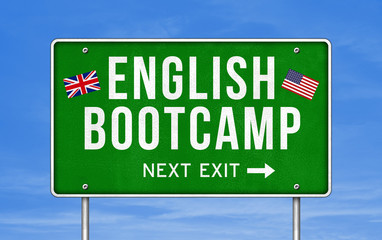 English Bootcamp - next exit sign