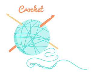 Vector illustration of teal blue yarn ball, crochet chain and crochet hooks in simple style. Needlework pattern, knitting stuff. Isolated on white craft tools for your hobby like knitting and crochet.
