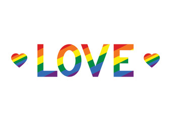 Vector Illustration of LGBT rainbow text love, LGBT pride slogan. Text for pride flag against homosexual discrimination. Rainbow pattern for banners, prints.
