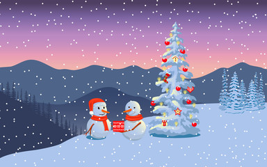 Winter boxing day with snowmen. Evening twilight with snowman family in santa hat, distant mountains, decorated illuminated x-mas tree
