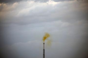 Smoke rises from a coke factory in the village of Lukavac near Tuzla