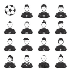 Cartoon Black Soccer Players and Ball Icon Set. Vector