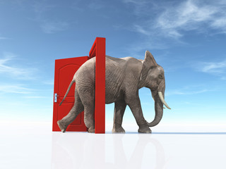The big elephant enters opened door