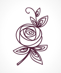 Rose. Stylized flower symbol. Outline hand drawing icon
