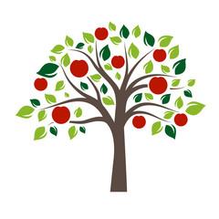 Flat Color Single Apple Tree