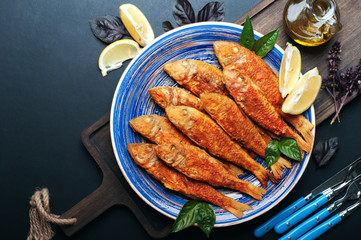 Fried seafood ('red mullet', 'barbule') on on a blue plate, dark background