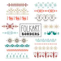 Vector collection of dividers, borders decorated with scandinavian folk patterns.