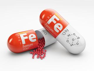 Fototapeta Pill with iron FE element. Dietary supplements. 3d illustration obraz