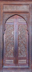 Wooden ornate door of platform (Minbar)  of the Mosque of Al Nasir Mohammad Ibn Qalawun at the Citadel of Cairo, Egypt
