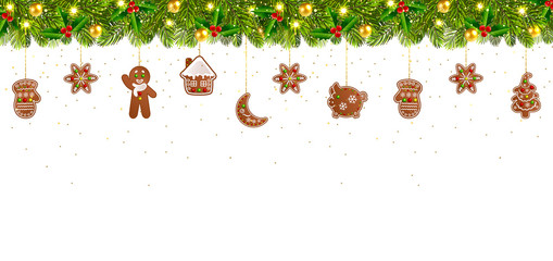 Christmas Banner with Garland and Christmas Gingerbread