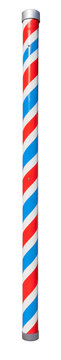 Unusually tall red, white and blue striped barber shop pole. Isolated.